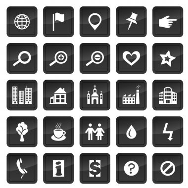 Map icons with dark buttons in background