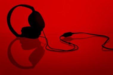 Headphones on red
