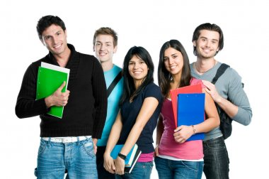 Smiling teenager students
