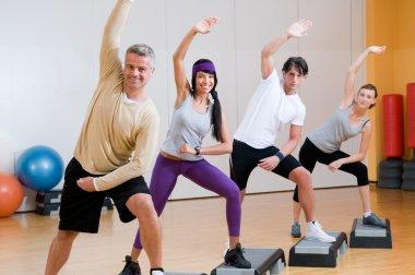 Aerobic exercises at gym