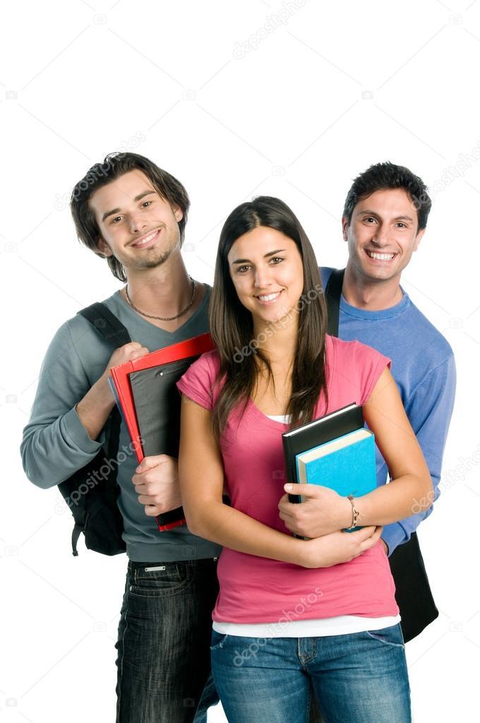 Smiling happy students