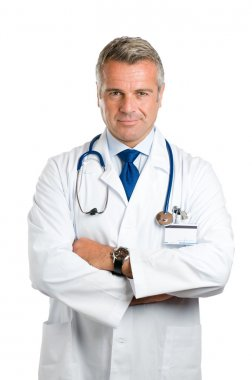 Satisfied smiling mature doctor