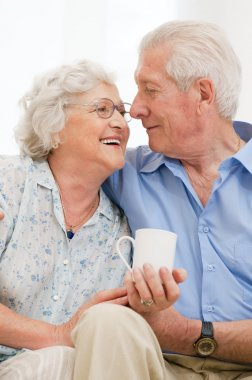 Retired loving aged couple
