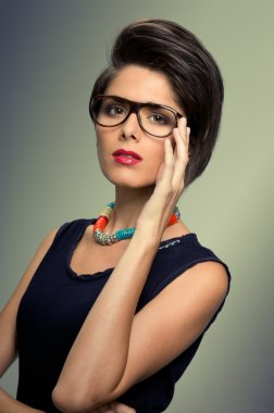 Vintage glasses and hairstyle