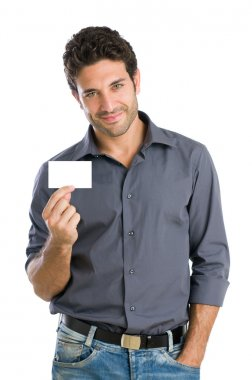 Happy man with white card