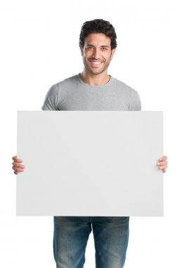 Smiling guy with sign