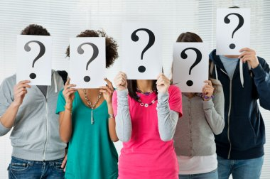 Students Hiding There Face With Question Mark Sign, uncertainty of their future concep stock vector