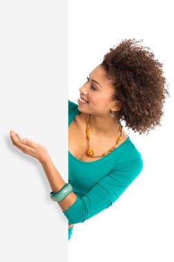 Woman Displaying Placard