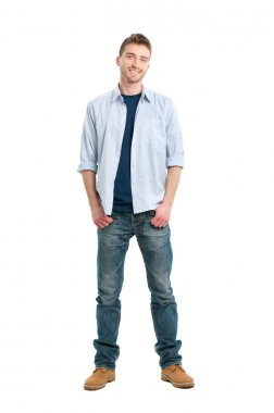 Happy smiling young man standing full length isolated on white background stock vector