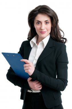 Business woman holding clipboard