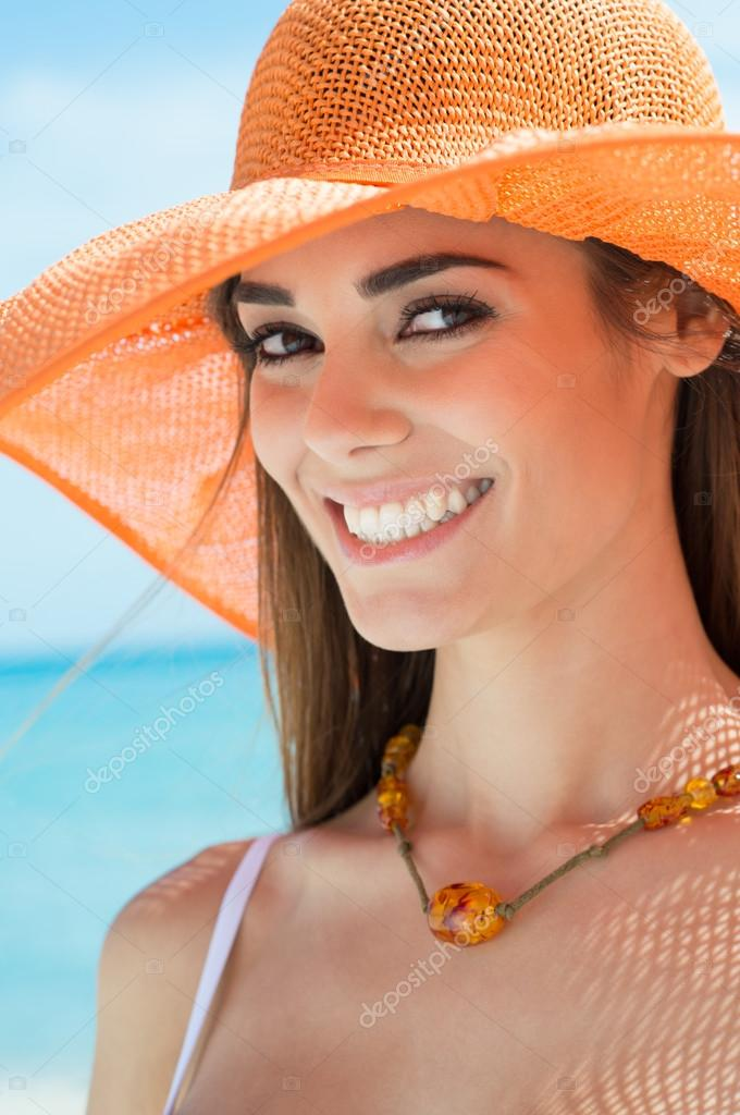 Portrait Of A Happy Woman At The Sea