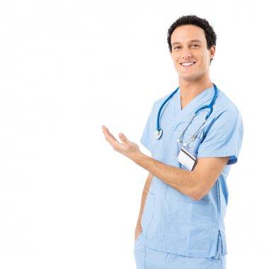 Confident Male Nurse Presenting