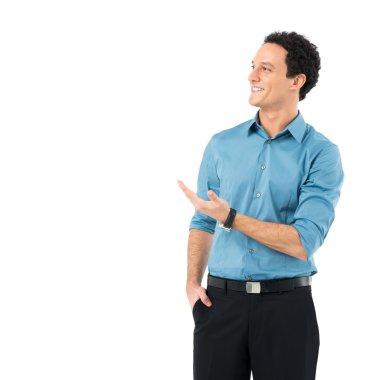 Smiling Businessman Presenting