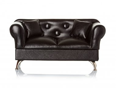 Black leather sofa, couch isolated