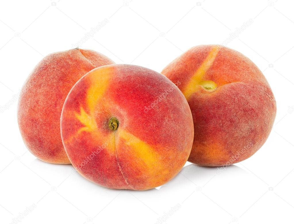 Ripe peaches fruit isolated on white background