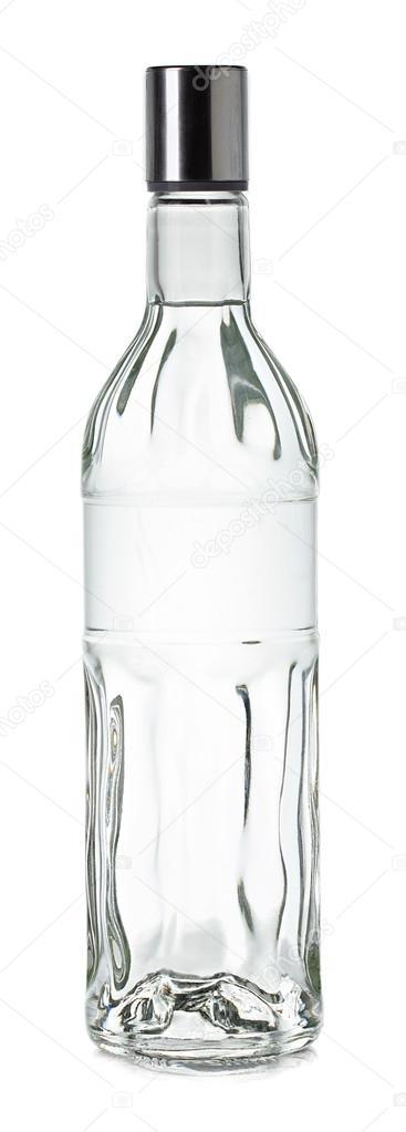 Bottle of vodka close-up isolated on white background