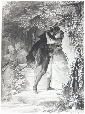 Faust is falling in love with Gretchen in Goether's Faust