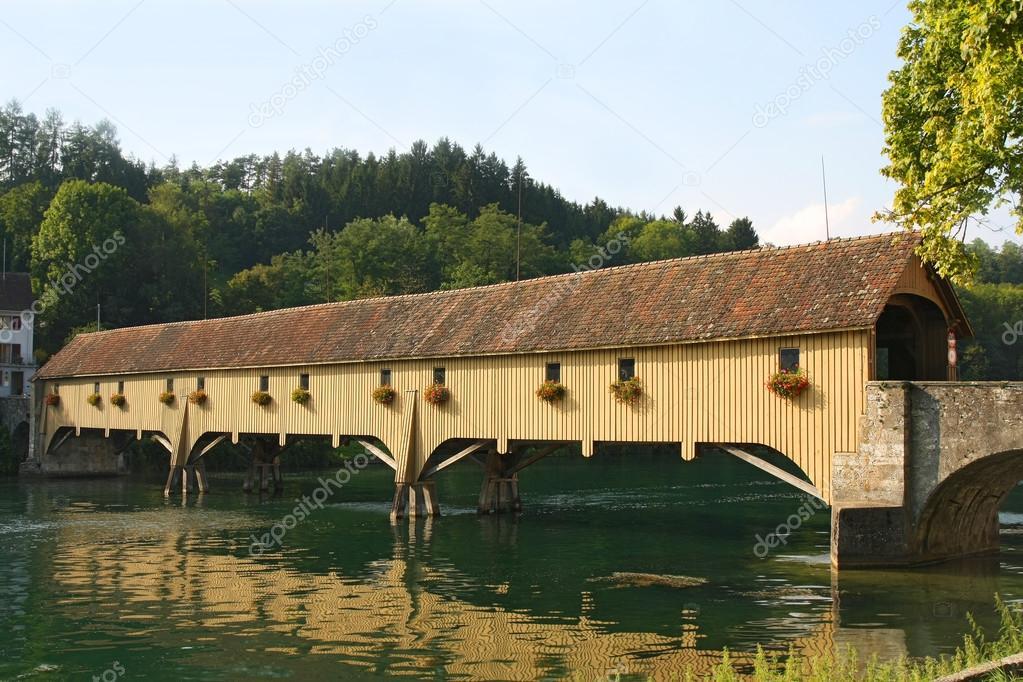 Traditional Covered Wood Bridge on the Rhine, Altenburg and Rheinau