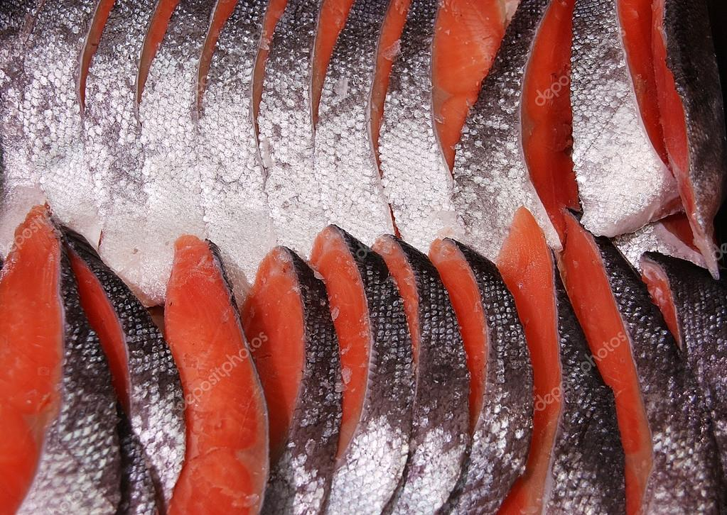 Fresh orange-red salmon slices