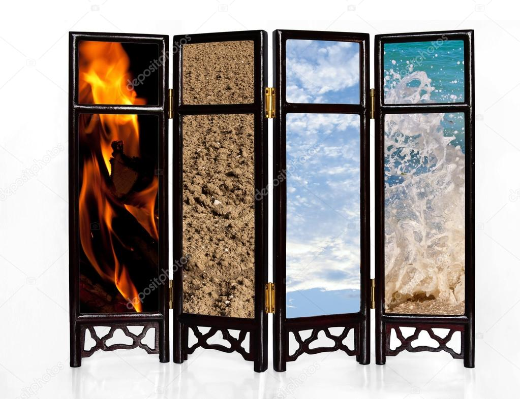 The four basic elements of fire, earth, air and water