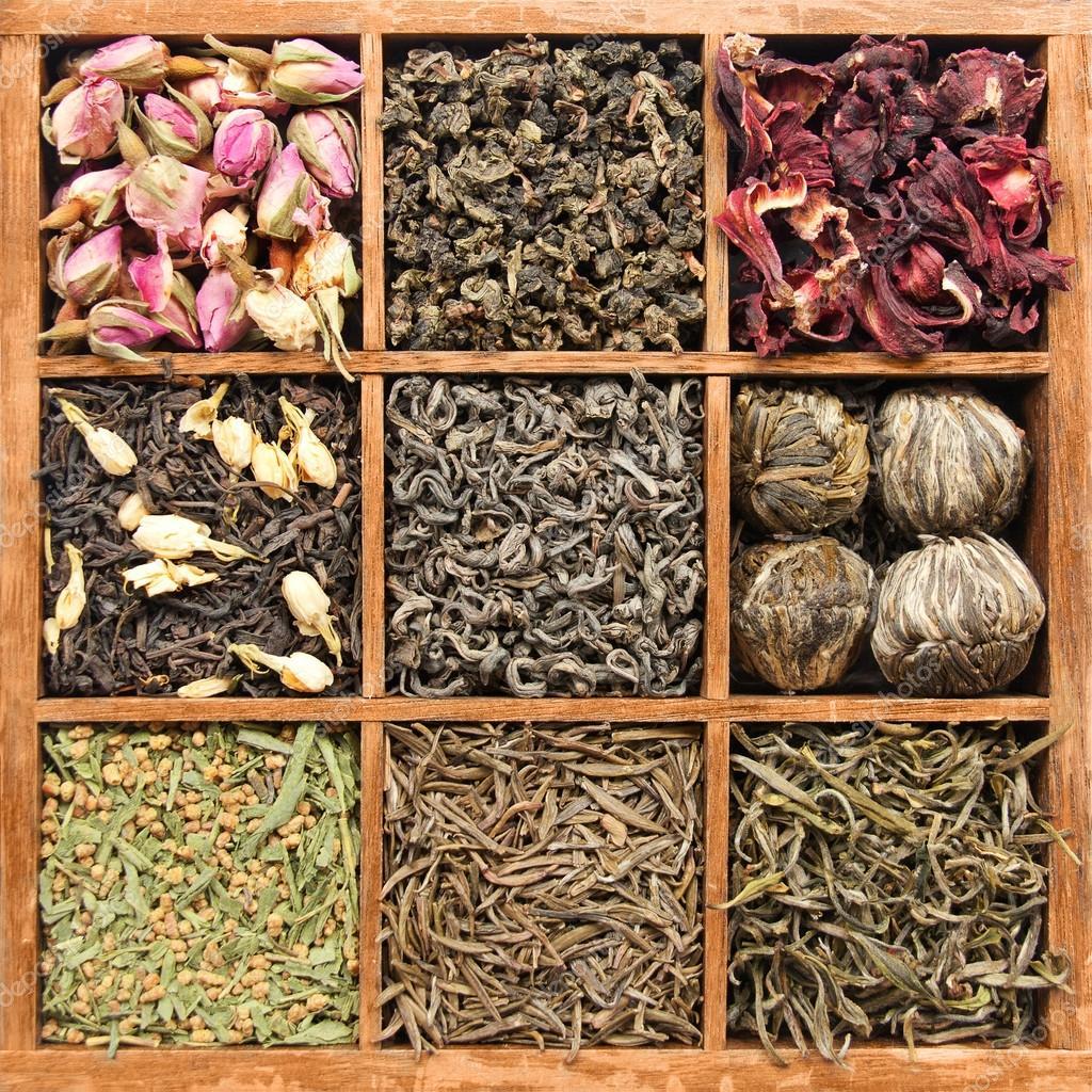 Assorted tea in wooden box