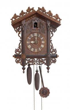 Antique cuckoo clock, isolated