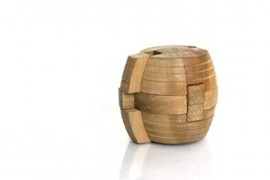 Cylindrical wooden puzzle