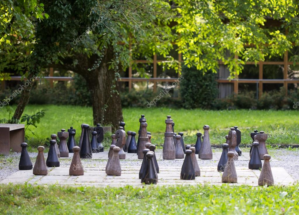 Chess field in a garden