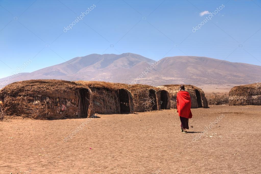 Massai huts in Tanzania
