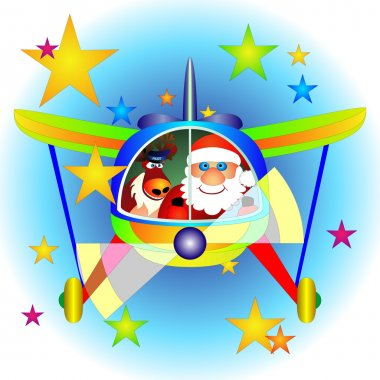 Airplane with Santa Claus and Rudolf