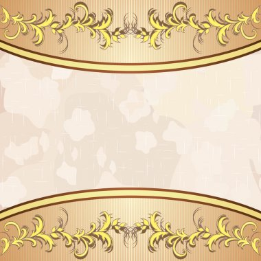 Vintage background with golden floral decoration
