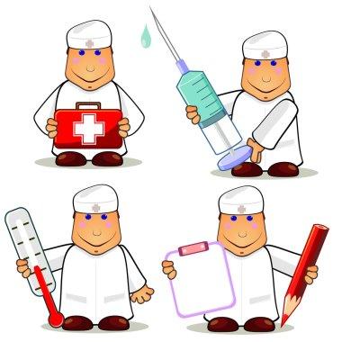 Four cartoon doctors