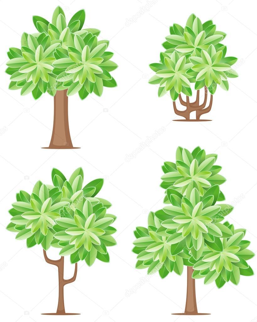 Four tree icons