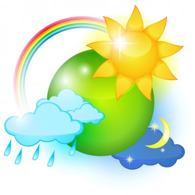 Big icon of different weathers around green planet stock vector
