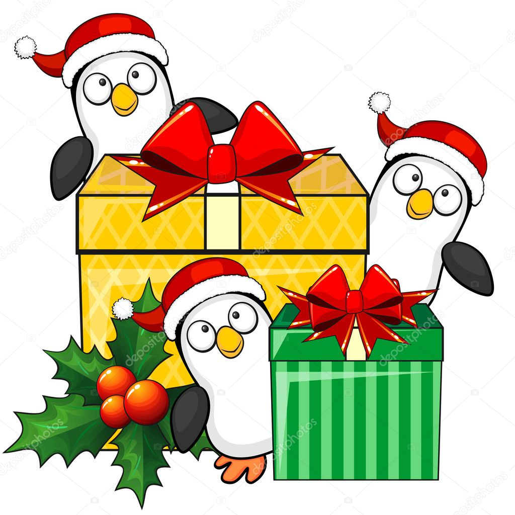 Penguins and Christmas gifts — Stock Vector © Mjak #35081193