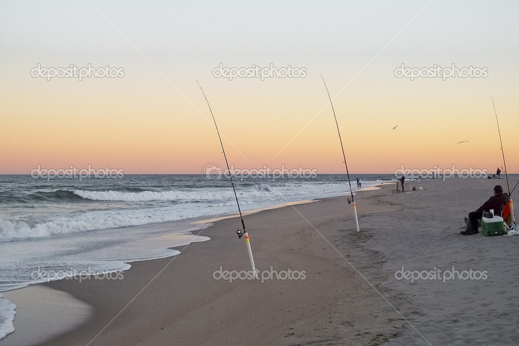 Surf Fishing Sandy Hook Stock Photo Andykazie 12891780