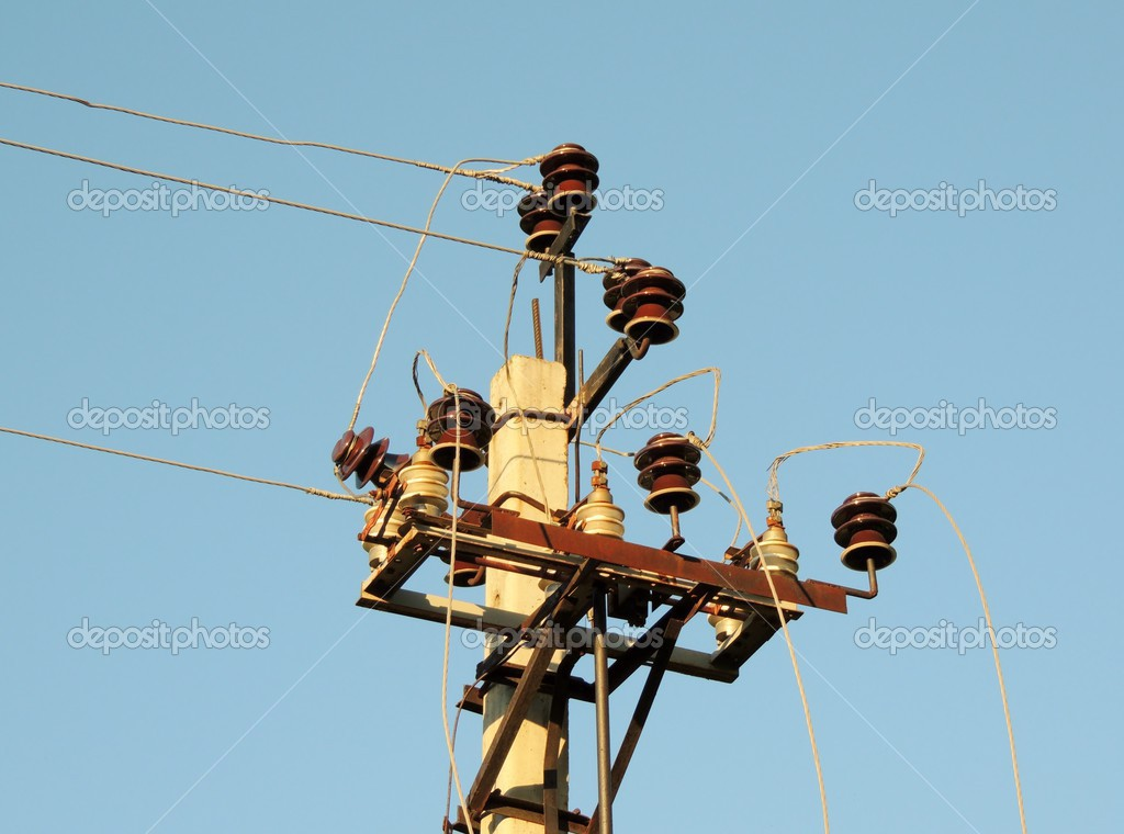 Items, electrical, wire, cable, post insulators, — Stock Photo ...