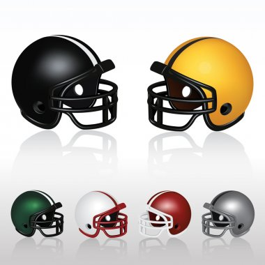 Set of football helmets Files Included: - EPS 10 - AI, PDF - JPG - Individual Helmets (all file formats) Note: This file contains transparency effects. stock vector