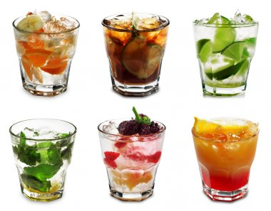 Cocktail Collection Isolated on White Background stock vector