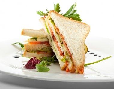 Club Sandwich with Salmon and Vegetables stock vector