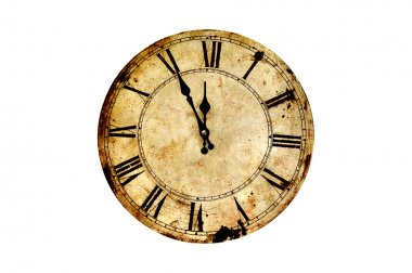Five minutes to twelve on isolated vintage clock. stock vector