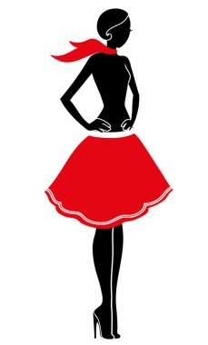 model girl skirt silhouet
