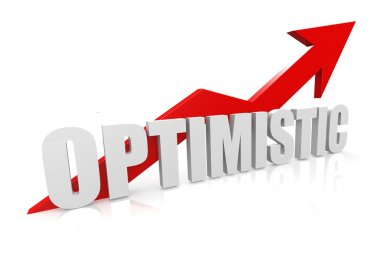 Optimistic with upward red arrow