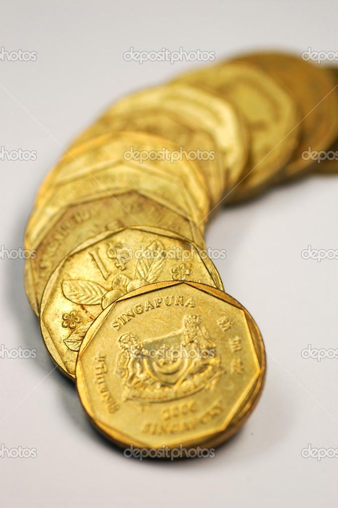 Singapur 1 Dollar Münze Stockfoto Tang90246 34881251