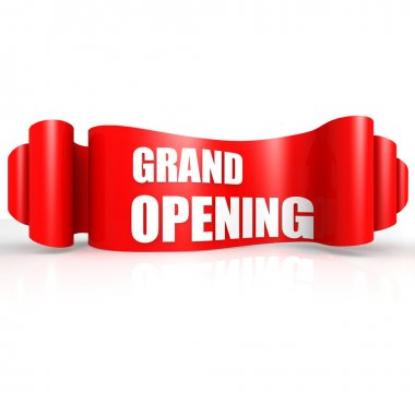 Grand opening red wave ribbon