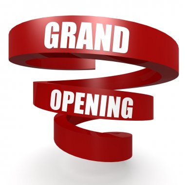 Grand opening red helix banner
