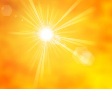 Glossy yellow orange summer sun rays with lens flare stock vector