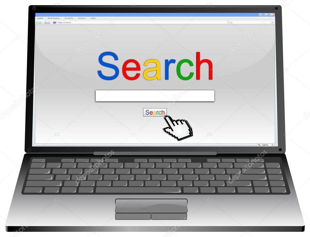 Laptop with Internet Search engine browser window
