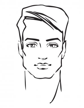 Man face. Hand drawn Fashion model