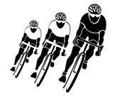 tři cyklisté siluety